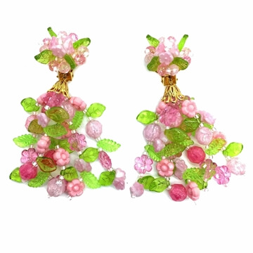 Christian DIOR 1960s Flower Power Chandelier pink and green Vintage Earrings
