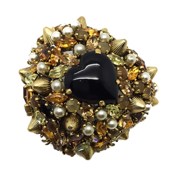 Christian DIOR 1960s Gilt Crystal, Pearl and Black Heart Vintage Brooch