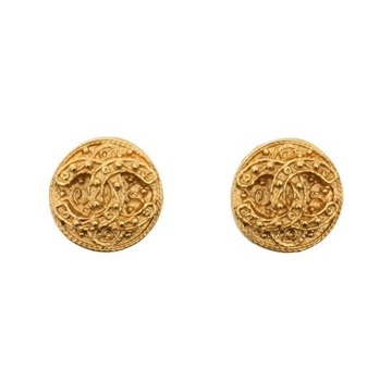 Chanel CC logo round chunky style clip on earrings