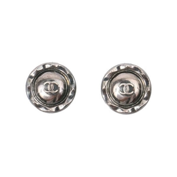 Chanel 1990s round CC logo silver vintage earrings
