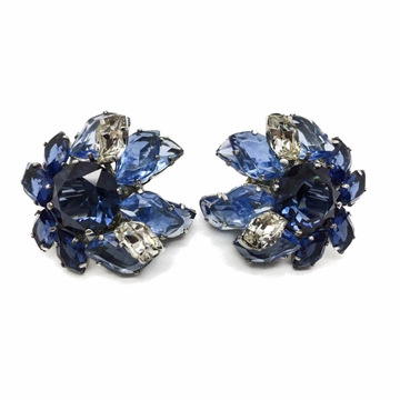 Christian Dior 1950s Faux Sapphire & Diamond Crystal Cluster Vintage Earrings