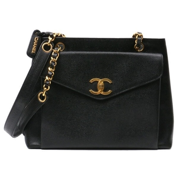 Chanel 1990s Caviar Skin Flap Pocket Black Vintage Tote Bag