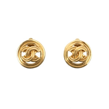 Chanel 1990s Circular Double Line CC Logo Gold Tone Vintage Earrings