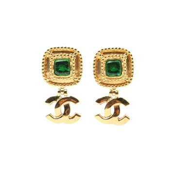Chanel CC logo square stone green vintage earrings