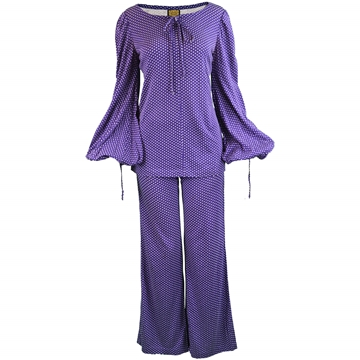 Biba 1970s Purple & White Polka Dot vintage Trouser Suit