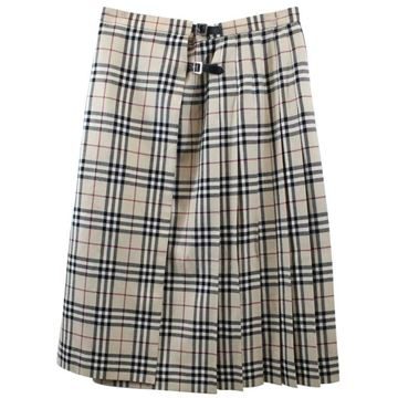 Burberry Kilt Style Checked Beige Vintage Wool Skirt