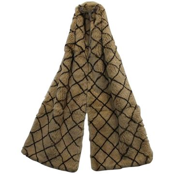 Chanel Patterned Orylag Rabbit Fur Beige Vintage Scarf