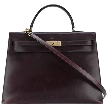 Hermes Box 35cm Calf leather Kelly  Cherry red vintage Tote Bag