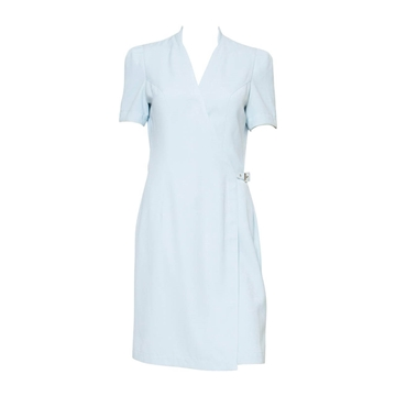Thierry Mugler 1990s Wrap Front belted Pale Blue Vintage Dress