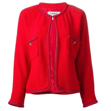 Chanel classic Boucle Wool red vintage jacket
