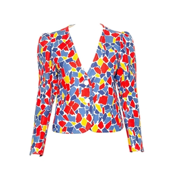 Yves Saint Laurent 1982 Printed geometric yellow red blue vintage Jacket