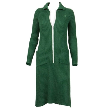 Courreges 1970s Rib Knitted White Zipper Green Vintage Midi Dress