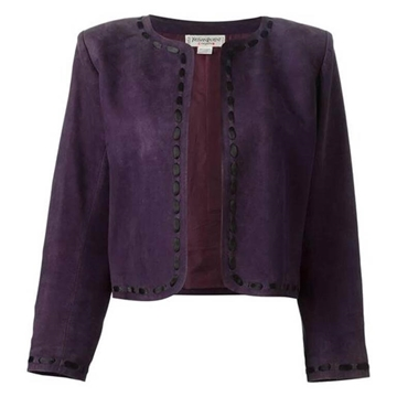 Yves Saint Laurent rare Lamb Suede purple vintage Bolero Jacket