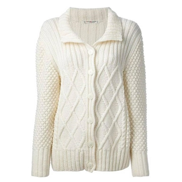 Yves Saint Laurent Wool Aran Knit Off White vintage Cardigan