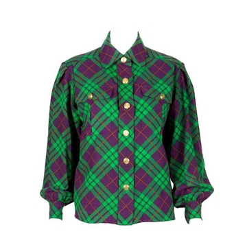 Yves Saint Laurent Check Shirt style purple & green vintage Jacket