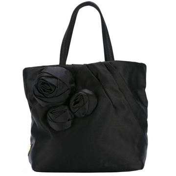 Prada Satin & ilk flower applique black vintage Evening Tote Bag