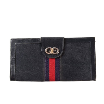 Gucci 1970s Logo Stipe Detail Navy Blue Vintage Purse