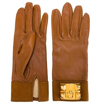 Hermes Medor Lambskin Gold Tone Metal Plaque Camel Beige Vintage Leather Gloves