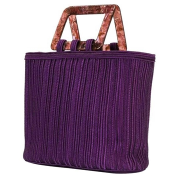 Yves Saint Laurent rare Braided tortoisehell effect handle purple vintage Tote Bag