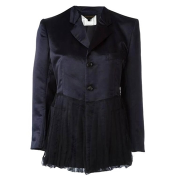 Comme Des Garcons 1990s Peplum Satin Dark Navy blue vintage Jacket