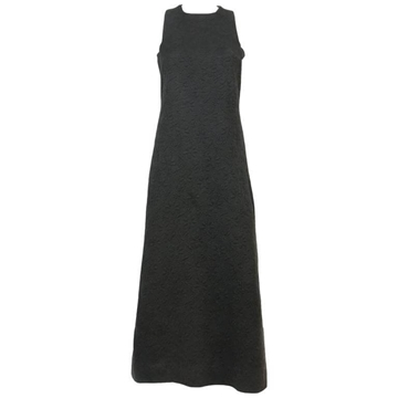 Miss Dior by Marc Bohan 1960s Rare Sleeveless Jacquard Cotton Black Vintage Maxi Dress