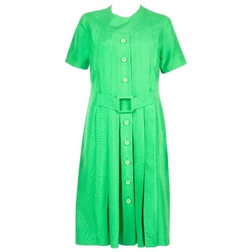 Molyneux 1960s Button Down Belted Silk Green Vintage Midi Dress