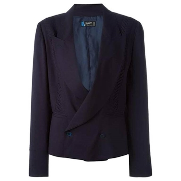 Claude Montana Wool Double Breasted navy blue vintage Blazer Jacket
