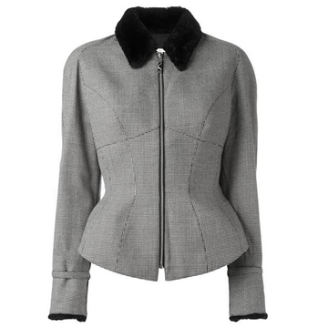 Thierry Mugler Wool Blend Houndstooth Black & White vintage Jacket