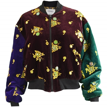 Ozbek 1990s Embroidered Velvet red purple & green vintage Bomber Jacket