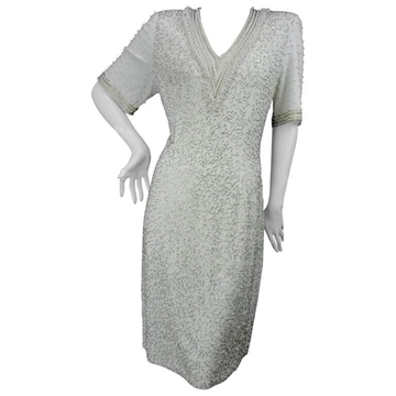 Vintage 1970s Beaded and Faux Pearl V Neck White Vintage Dress