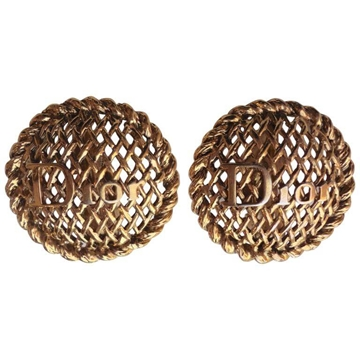 Christian Dior Statement Gold Tone Vintage Earrings