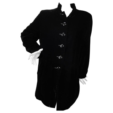 Yves Saint Laurent 1990s Velvet Military Style Black Vintage Jacket