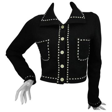 Moschino Jeans Knitted Contrast Stitch Black Vintage Cardigan