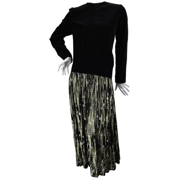 Vintage 1980s Box Fit Black Dress with Pleated Gold Lame Skirt