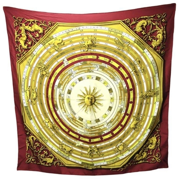 Hermes Paris Dies et Hore Astrology Red Gold Vintage Silk Scarf