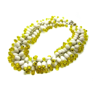 Vintage 1960s Chunky Yellow Glass Beaded White Necklace