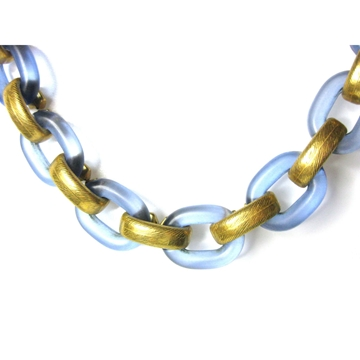 Vintage 1960s Plastic Link Blue & Gold Necklace