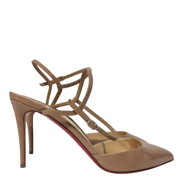 Christian Louboutin patent leather nude high heel shoes