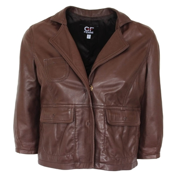 Ferre Leather cropped pocket detail brown vintage jacket