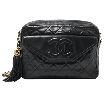 Chanel Quilted Leather CC Stitch Black Vintage Camera Bag