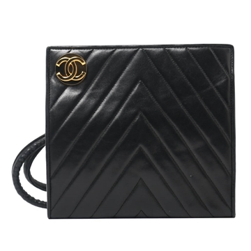 Chanel V Quilt Square Shaped Leather Black Vintage Shoulder Bag