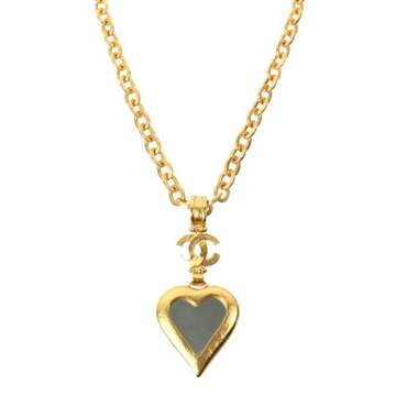 Chanel 1990s Heart Shaped Mirror Pendant Gold Tone Vintage Necklace