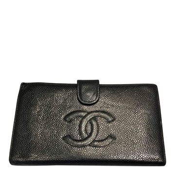 Chanel 2002 caviar leather black vintage wallet
