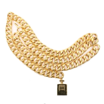 Picture of Chanel Perfume Bottle Lock Detail Gold Tone Vintage Chain Belt