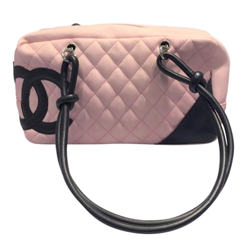 Chanel leather pink vintage tote shoulder bag