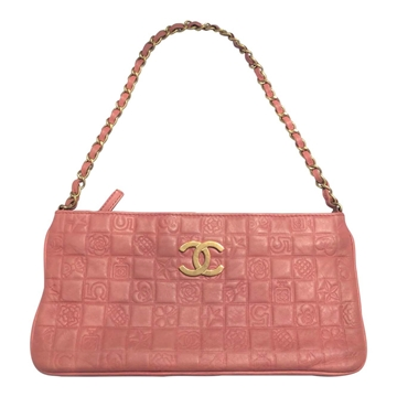 Chanel leather printed pink vintage clutch bag