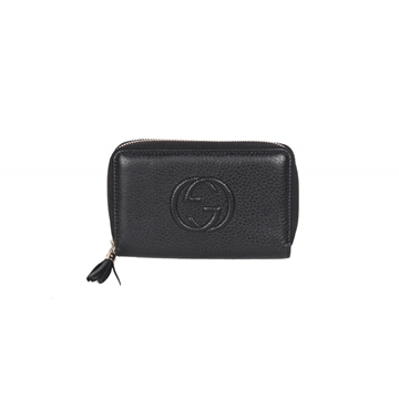 Gucci Soho Monogram Embossed Zip Black Vintage Wallet