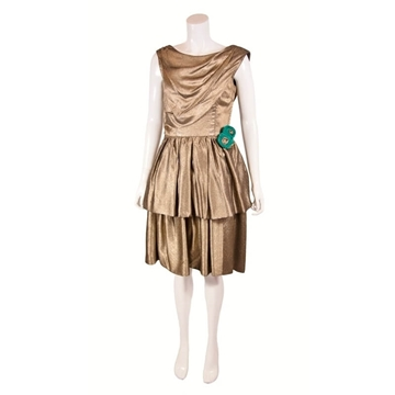 1950s gold tiered vintage cocktail dress
