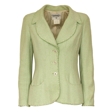 Chanel Buttoned Green Vintage Blazer Jacket