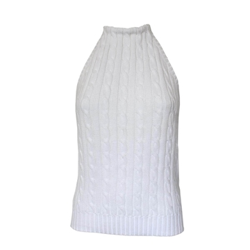 Ralph Lauren Cable Knitted White Vintage Halterneck Top